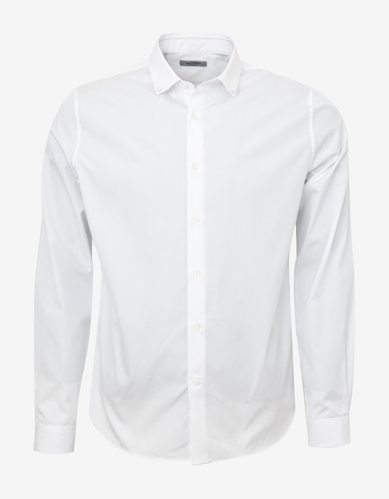 White Shirt with Studded Collar