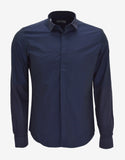 Blue Shirt with Contrast Sleeves & Collar