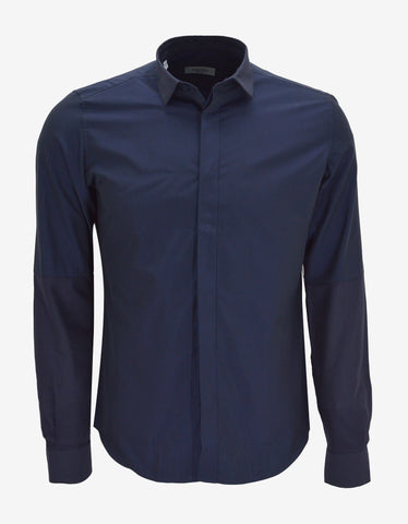 Valentino Blue Shirt with Contrast Sleeves & Collar