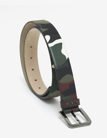 Valentino Garavani Camouflage Leather & Canvas Belt