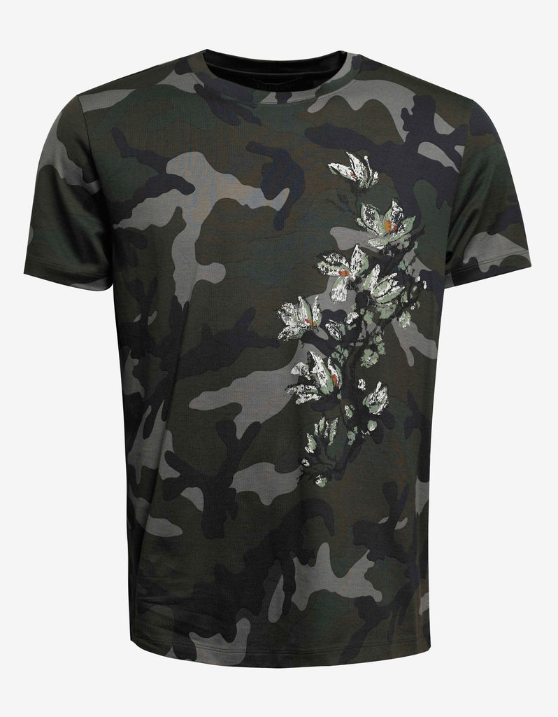 Camouflage & Plants Print T-Shirt