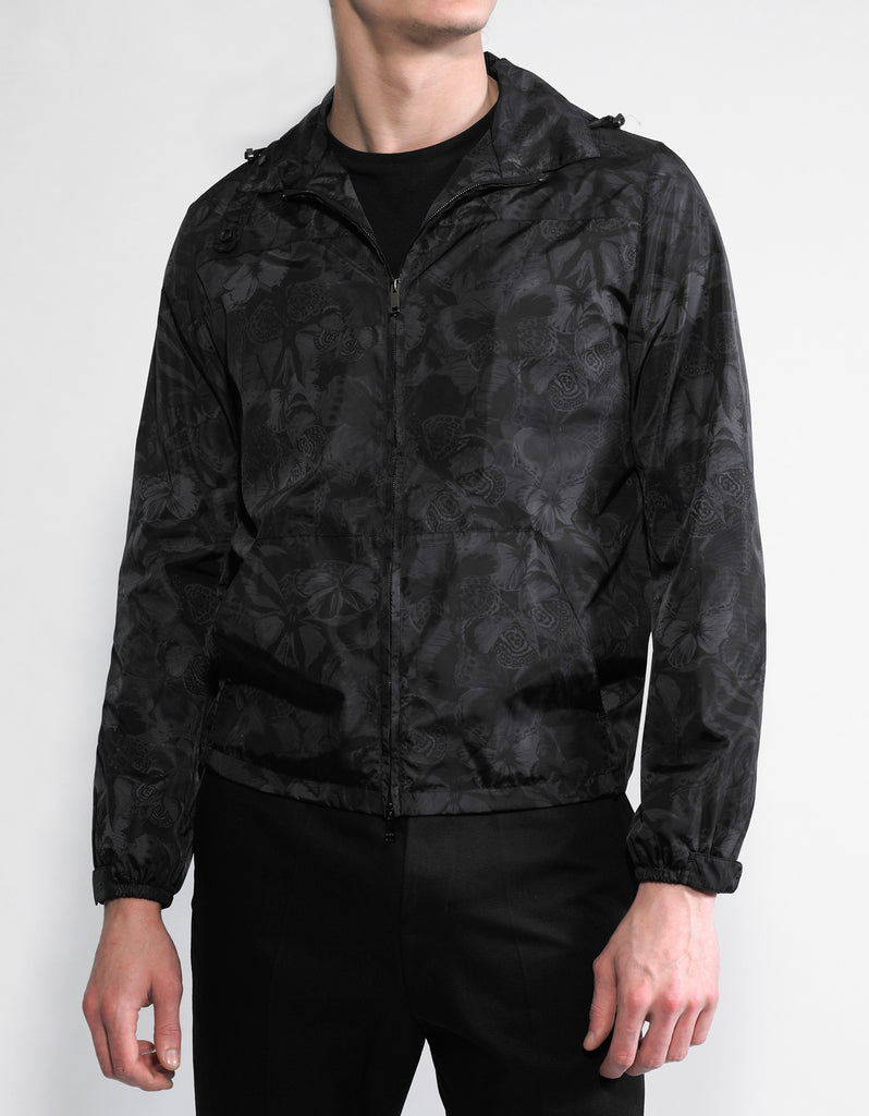 Black Camubutterfly Nylon Windbreaker