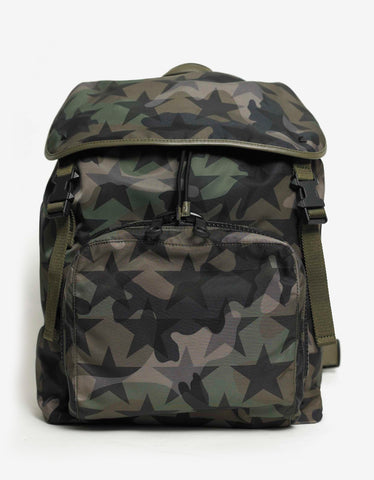 Valentino Garavani Camustars Print Canvas Backpack