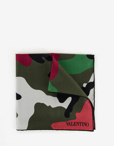 Valentino Camouflage Silk Pocket Square