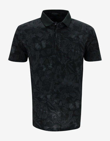 Valentino Black Camubutterfly Polo T-Shirt