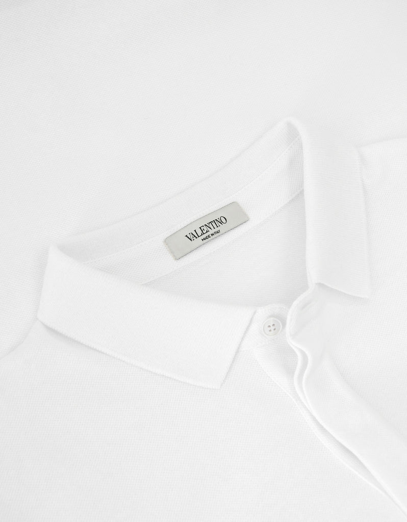 White Polo T-Shirt with Rockstud