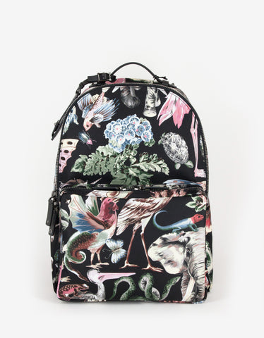 Valentino Garavani Fantastic Animals Print Canvas Backpack