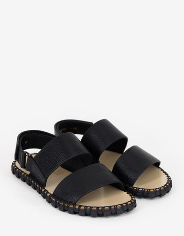 Valentino Garavani Black Grain Leather Sandals