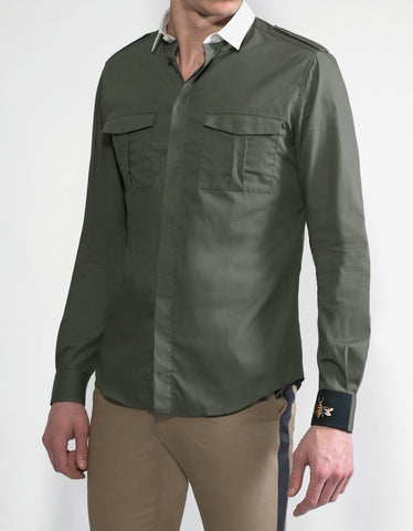 Valentino Green Shirt with Wasp Cuff