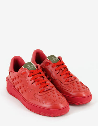 Valentino Garavani Rock Be Red Leather Low Trainers