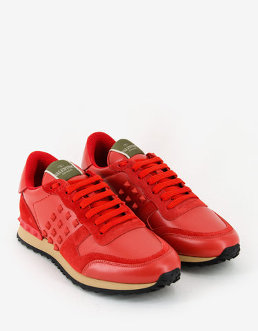 Valentino Garavani Coral Red Leather Rockrunner Trainers