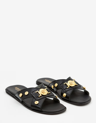 Versace Black Medusa Head Crest Leather Sandals