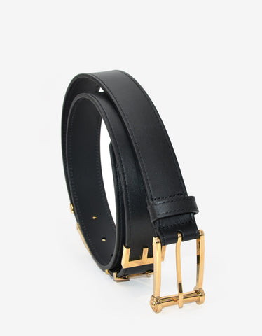 Versace Black Leather Belt with Gold Logo