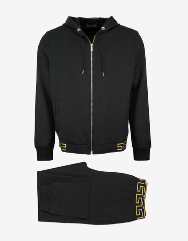 Versace Gym Dark Grey Greek Pattern Sweat Pants Tracksuit
