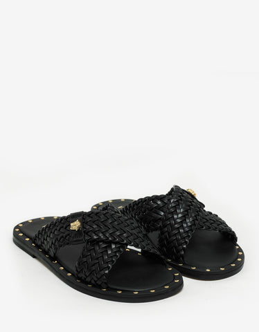 Versace Black Woven Leather Sandals