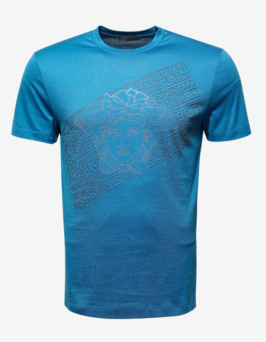 Versace Blue Sequin Medusa T-Shirt