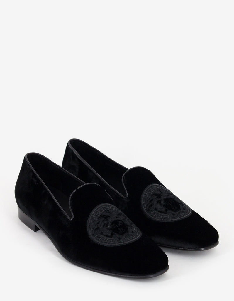 Black Medusa Embroidery Velvet Slippers