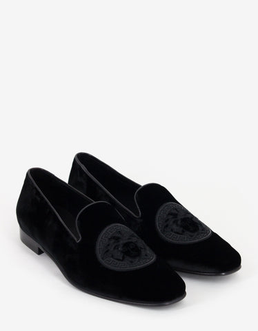 Versace Black Medusa Embroidery Velvet Slippers