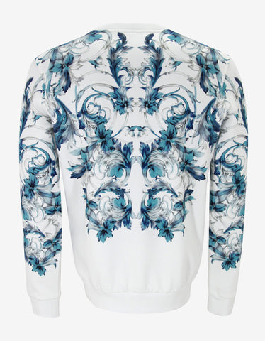 Versace White & Blue Watercolour Baroque Sweatshirt