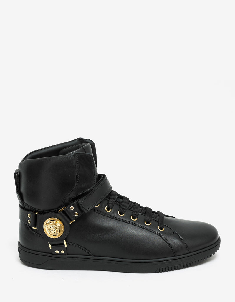 Black Medusa Strap High Top Trainers