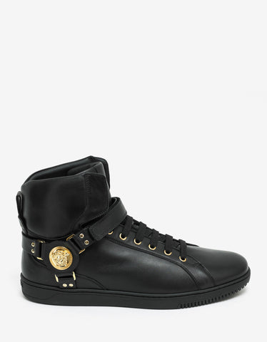 Versace Black Medusa Strap High Top Trainers