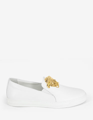 Versace White Leather Medusa Crest Trainers