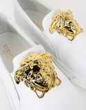 White Leather Medusa Crest Trainers