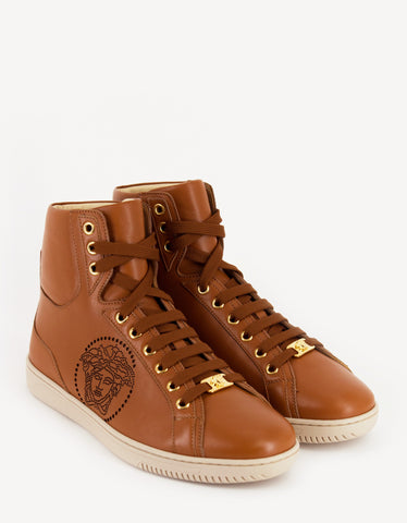 Versace Tan Medusa Perforated High Top Trainers