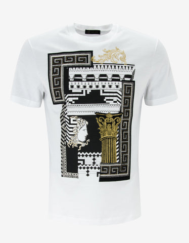 Versace White Greek Graphic T-Shirt