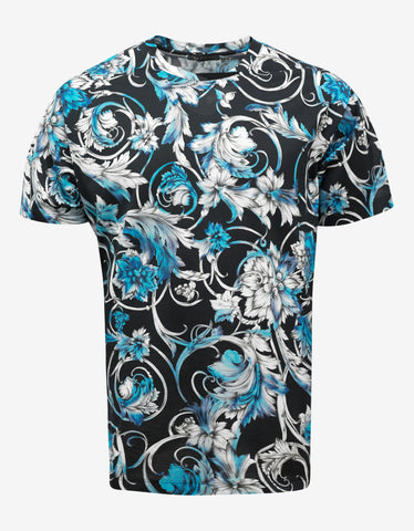 Versace Black & Blue Watercolour Baroque T-Shirt