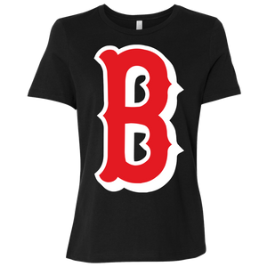 B Logo (red) Ladies' Relaxed Jersey Short-Sleeve T-Shirt