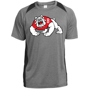 Bulldog Logo  Heather Colorblock Poly T-Shirt