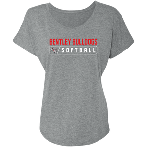 Lady Bulldogs Bar Logo (Red) Ladies' Triblend Dolman Sleeve