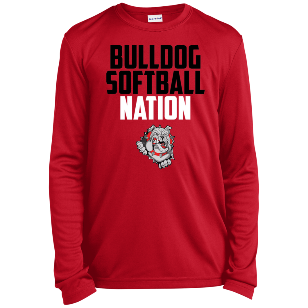 Lady Bulldogs Script Youth Long Sleeve Moisture-Wicking T-Shirt