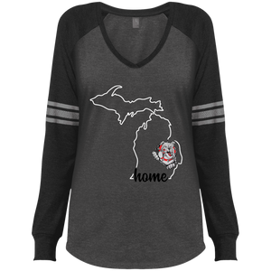 Lady Bulldogs Home Ladies' Game LS V-Neck T-Shirt