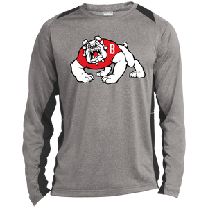 Bulldog Full Logo Long Sleeve Heather Colorblock Poly T-Shirt