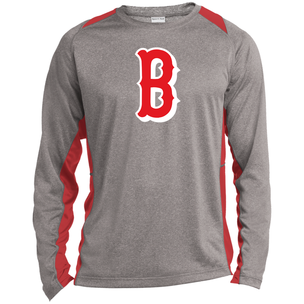 B Logo (red) Long Sleeve Heather Colorblock Poly T-Shirt