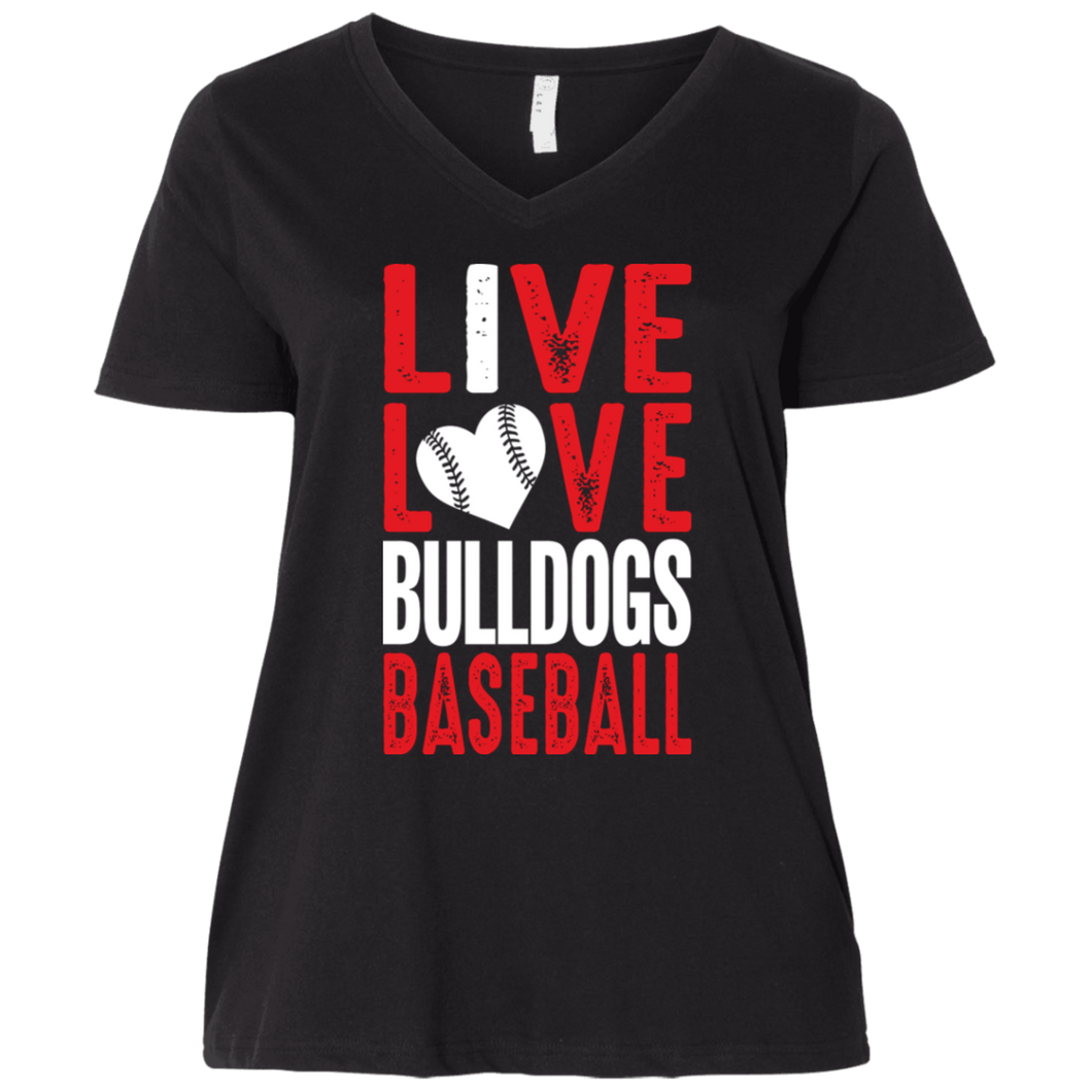 I Live Love Bulldogs Ladies' Curvy V-Neck T-Shirt