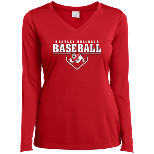 Plate Logo Ladies' LS Performance V-Neck T-Shirt
