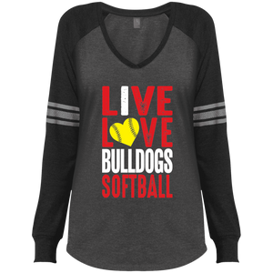 Lady Bulldogs Live/Love Ladies' Game LS V-Neck T-Shirt