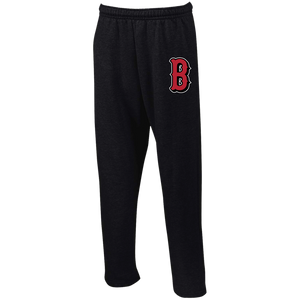 Lady Bulldogs B Logo (Red) Open Bottom Sweatpants with Pockets