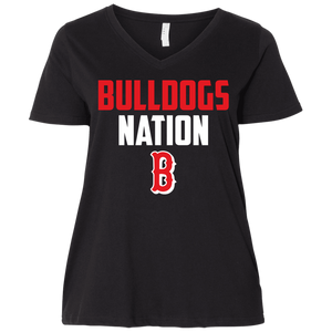 Bulldogs Nation   Ladies' Curvy V-Neck T-Shirt