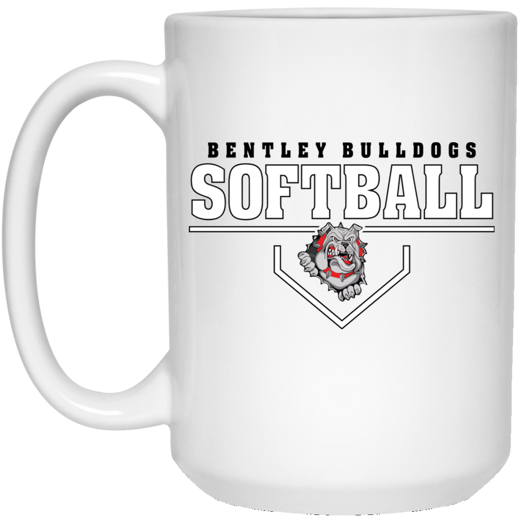 Lady Bulldogs Plate Logo 15 oz. White Mug