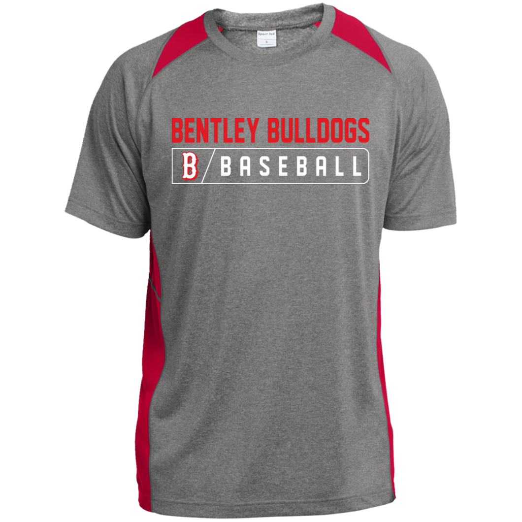 Bulldog Bar Logo (red) Heather Colorblock Poly T-Shirt