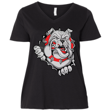 Load image into Gallery viewer, Lady Bulldogs Ladies' Curvy V-Neck T-Shirt