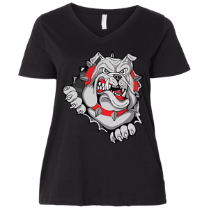 Lady Bulldogs Ladies' Curvy V-Neck T-Shirt