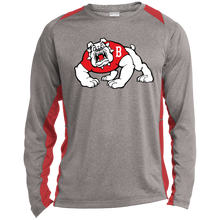 Load image into Gallery viewer, Bulldog Full Logo Long Sleeve Heather Colorblock Poly T-Shirt