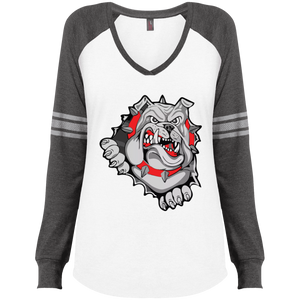 Lady Bulldogs Ladies' Game LS V-Neck T-Shirt