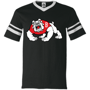 Bulldog Logo  V-Neck Sleeve Stripe Jersey
