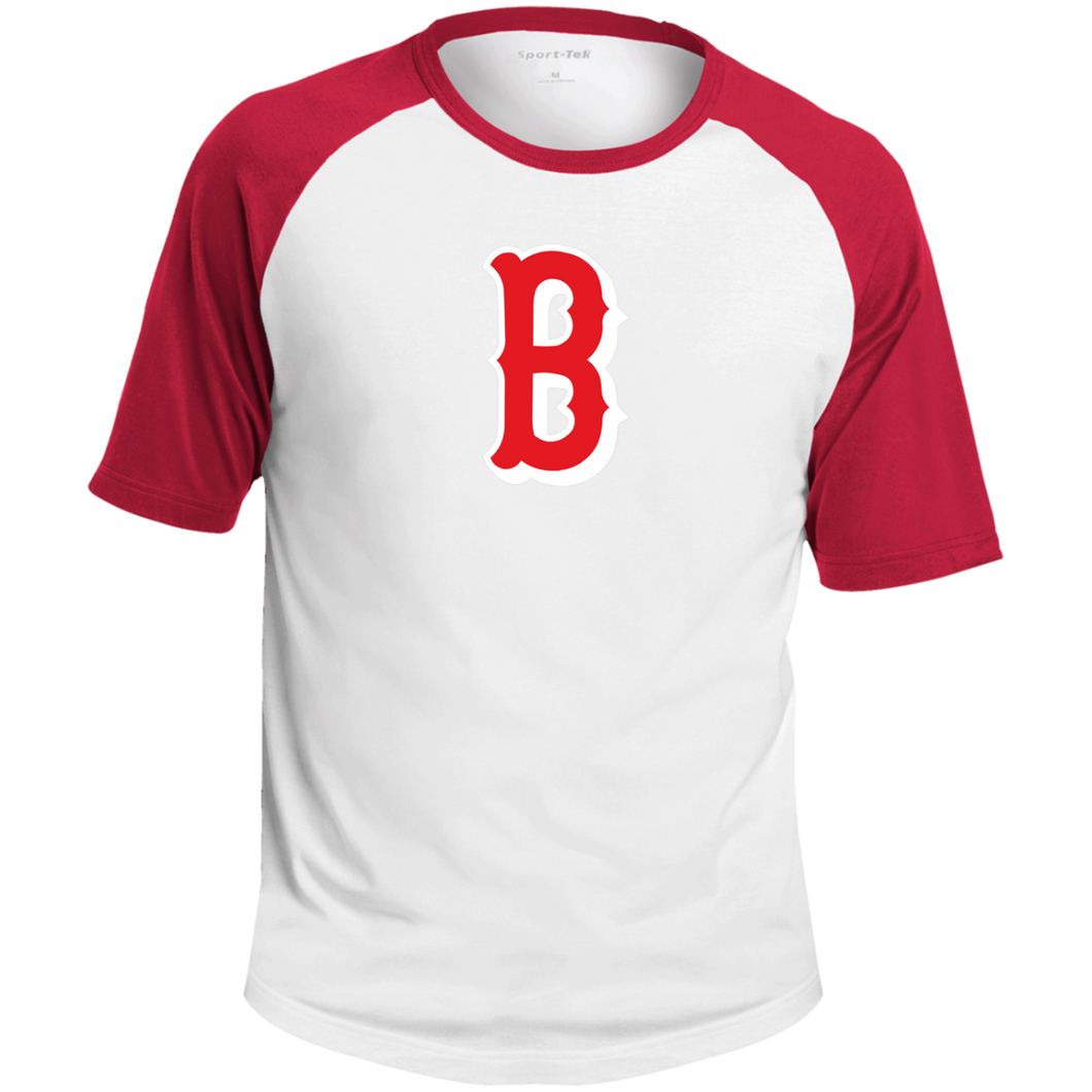 B Logo (red)  SS Colorblock Raglan Jersey